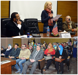 Benha university president welcome the American writer Marisa Silver