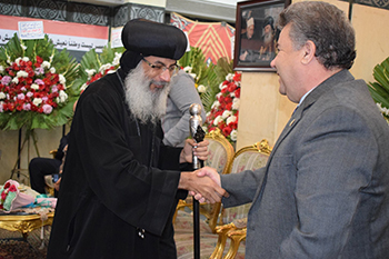 """The conspiracies will not destroy the nation"" says EL-Kady during his visit to Benha Cathedral"