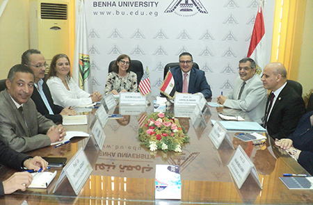 Benha University President receives a Delegation from Institute of International Education IIE
