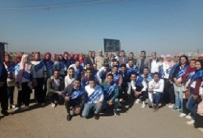 Benha University 's students visit the fish farm at EL-Abassiya