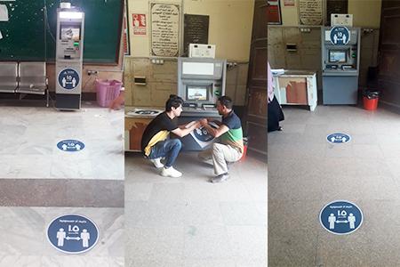 ملصقات وارشادات أمام ماكينات الصراف الآلي بجامعة بنها لمواجهة كورونا