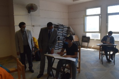 El Saeed inspects the Aptitude Tests at the Faculty of Applied Arts