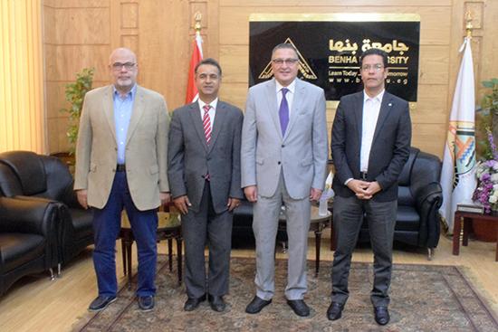 رئيس جامعة بنها يستقبل مساعد الملحق الثقافي الليبي
