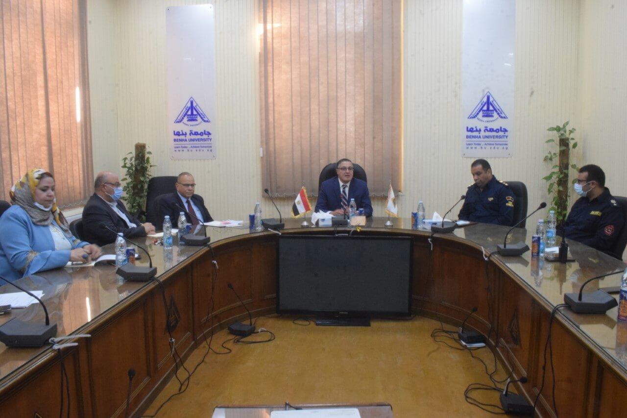 تعاون بين جامعة بنها والحماية المدنية بالقليوبية لتأمين منشأتها