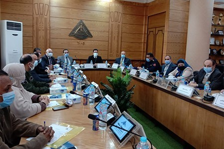 Benha University Board discusses the Preparations for the Second Semester Exams 2021