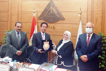 Benha University Board honors Dr.Hala Helmy Zayed for her Great Efforts during her Deanship