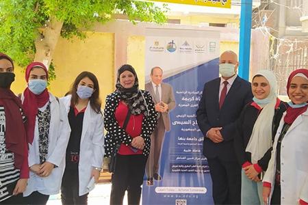من خلال مبادرة حياة كريمة جامعة بنها تواصل تنظيم القوافل الطبية بقرى شبين القناطر