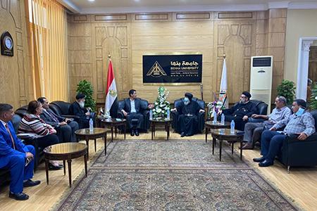 القائم بأعمال رئيس جامعة بنها يستقبل وفدا من الكنيسة القبطية الأرثوذكسية